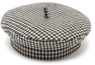Ruslan Baginskiy Houndstooth Wool-blend Beret - Black And White