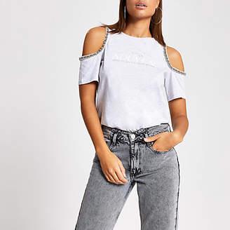 River Island Grey printed embellish cold shoulder T-shirt