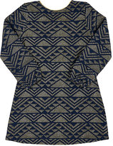 Billieblush Geometric-Pattern Knit Dress-NAVY