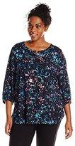 NYDJ Women's Plus-Size Three-Quarter-Sleeve Henley Blouse