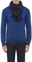 Drakes Drake's Men's Striped Scarf-NAVY