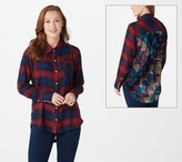 Tolani Collection Plaid Top with Printed Velvet Back