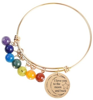 Genuine Chakra Inspirational Bangles by Pink Box I love you to the moon and back Rose Gold