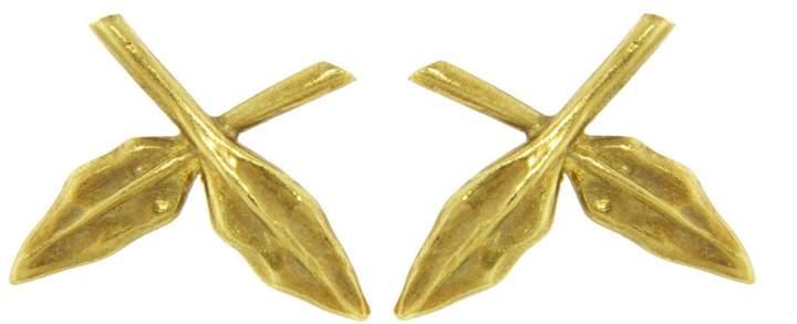 Cathy Waterman Crossed Leaf Stud Earrings - Yellow Gold