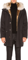 Yves Salomon Twill Parka with Natural Rabbit and Coyote Fur