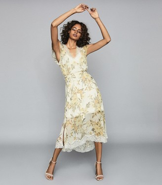 Reiss Emlin - Floral Printed Midi Dress in Ivory