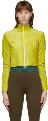 Eckhaus Latta SSENSE Exclusive Yellow Velour Cardigan