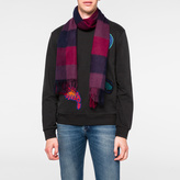 Paul Smith Men's Red Block Check Cashmere Scarf