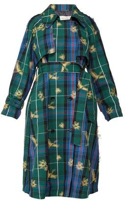 Golden Goose Masami Bird Jacquard Checked Trench Coat - Womens - Multi