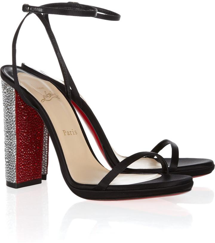 Christian Louboutin Au Palace 120 crystal-heel satin sandals