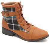 Qupid Plateau Plaid Work Boots