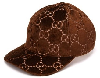 Gucci GG-embroidered Velvet Cap - Brown