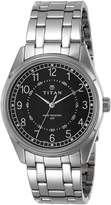 Titan Men's 1729SM02 Contemporary Black Dial Silver Metal Strap Watch