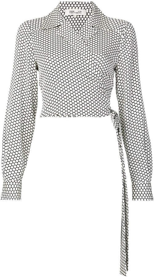 Diane von Furstenberg long sleeve polka dot wrap blouse