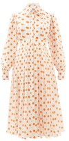 Emilia Wickstead Anatola Pleated Polka-dot Silk Shirtdress - Womens - White Multi