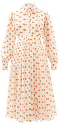 Emilia Wickstead Anatola Pleated Polka Dot Silk Shirtdress - Womens - White Multi