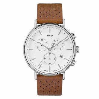Timex Men's Fairfield Chrono 41mm Watch All Black with Genuine Leather Strap