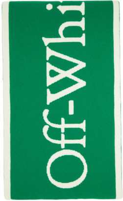 Off-White Green and White Felted Wool New Logo Scarf