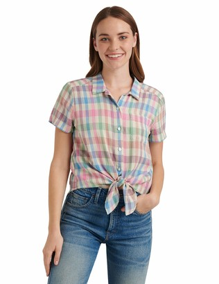 Lucky Brand Women's Short Sleeve Button Up One Pocket Tie Front Shirt