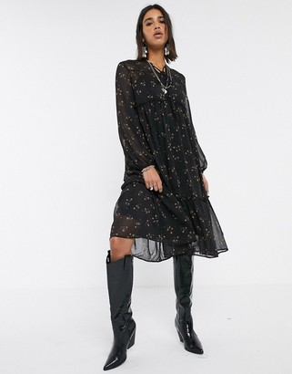 Object midi smock dress in black ditsy floral