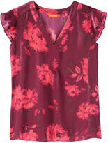 Joe Fresh Women's All Over Print Blouse, Dark Red (Size L)