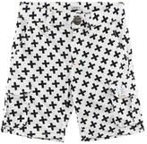 Ikks White and Black Cross Print Cargo Shorts