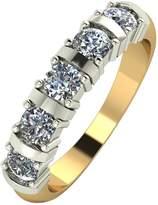 Moissanite 9 Carat Yellow Gold 1 Carat 5 Stone Eternity Ring