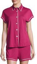 Cosabella Bella Cap-Sleeve Shorty Pajama Set, Deep Ruby/Ivory