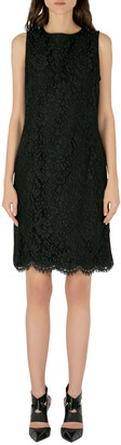 Ungaro Collection Black Floral Lace Scalloped Hem Sleeveless Dress L