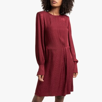 Short Satin Feel Dress in Leopard Print with Long Sleeves