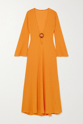 Dodo Bar Or Junna Embellished Cutout Ribbed-knit Maxi Dress - Orange