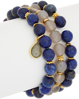 Rachel Reinhardt Set Of 3 14K Plated Gemstone Stretch Bracelets