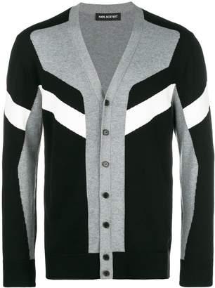 Neil Barrett colour block striped cardigan