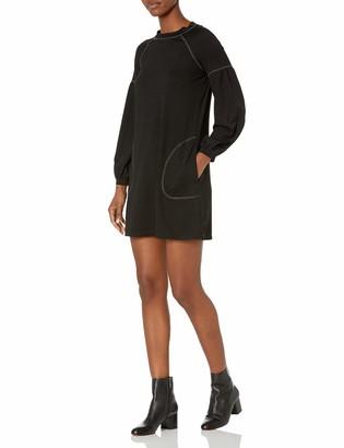 Max Studio Women's Topstitched Puffy Sleeve Sweater Dress