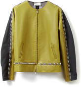 3.1 Phillip Lim Scuba Leather Jacket With Tech Cord Detail And Striped Grid Back