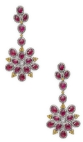 Artisan Floral Shape Ruby and Diamond Earring