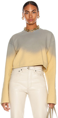 Acne Studios Ombre Cropped Sweater in Vanilla Yellow & Pale Blue | FWRD