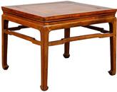 One Kings Lane Vintage Chinese Elmwood Ming Style Side Table - FEA Home - brown/honey