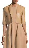 Michael Kors Half-Sleeve Cropped Leather Jacket, Suntan