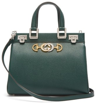 Gucci Zumi Small Top-handle Grained-leather Bag - Green