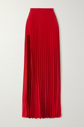 Vetements Cutout Pleated Crepe Maxi Skirt - Red