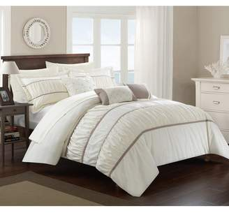 Aero Pleated & Ruffled King Bed In a Bag Comforter 10-Piece Set, Beige