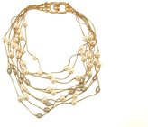 Kenneth Jay Lane 9 Row Gold Rhinestone & Layered Necklace.