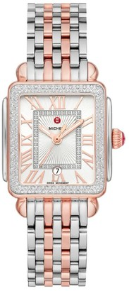 Michele Deco Madison Mid Two-Tone Rose Gold Diamond Watch