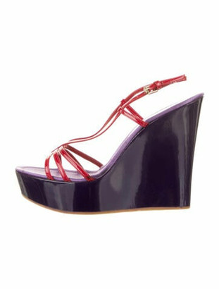 Gianvito Rossi Patent Leather Cutout Wedges Purple