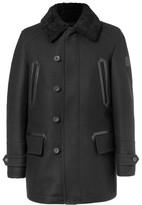 Belstaff Saddleworth Leather And Shearling-trimmed Virgin Wool-blend Coat - Black
