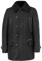 Belstaff Saddleworth Leather and Shearling-Trimmed Virgin Wool-Blend Coat