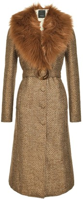 Pinko Fur-Panelled Tweed Coat