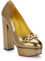 Charlotte Olympia Agate Metallic Leather Platform Pumps