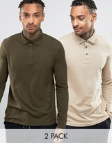 Asos Long Sleeve Jersey Polo 2 Pack